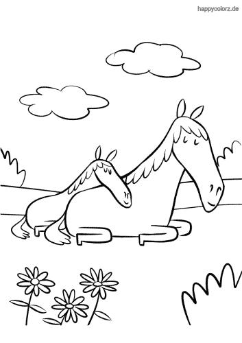 Fohlen mit Pferdemutter Malvorlage