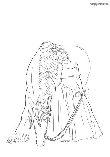Frau mit Pferd Malvorlage