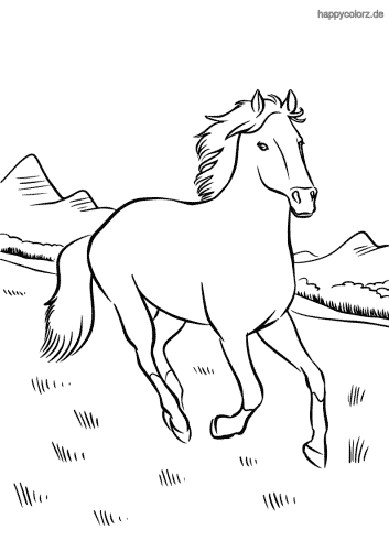 Pferd in den Bergen Ausmalbild