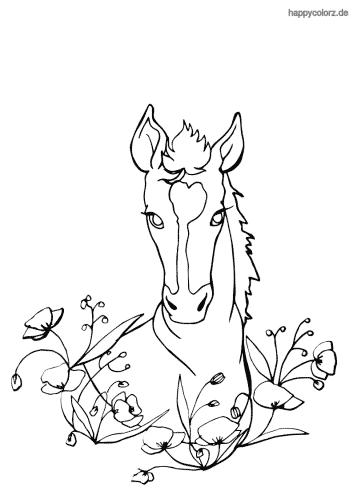 Pferd mit Blumen Malvorlage