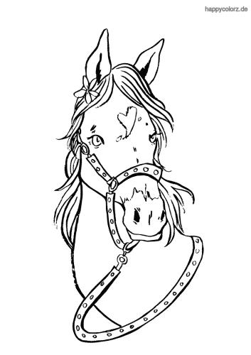 Pferd mit Geschirr Ausmalbild