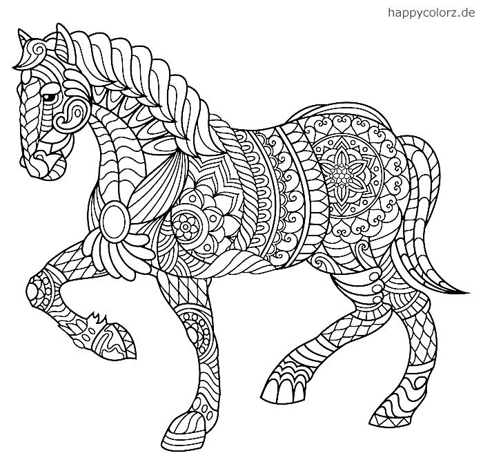 Pferde Mandala zum ausmalen