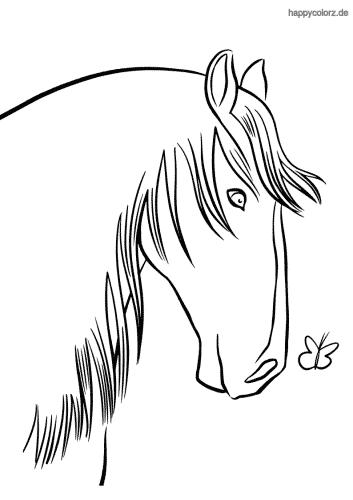 Pferdekopf mit Schmetterling Ausmalbild