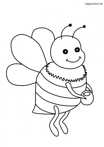 Lachende Biene mit Honigtopf Malvorlage