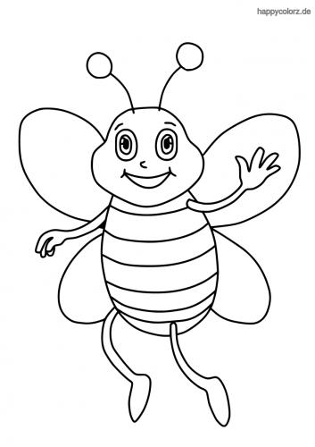 Winkende Biene ausmalen