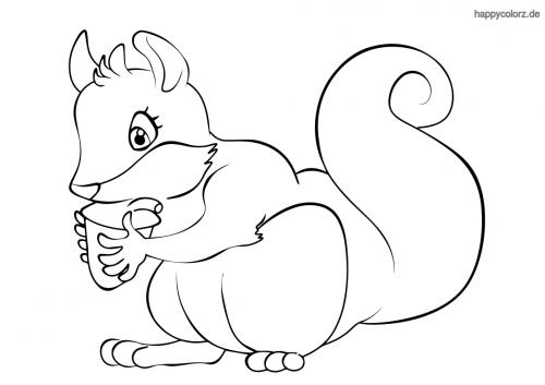 Eichhörnchen mit Haselnuss Ausmalbild