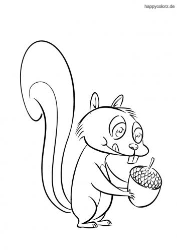 Hungriges Eichhörnchen Ausmalbild