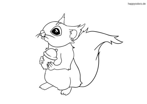 Süßes Eichhörnchen Malvorlage