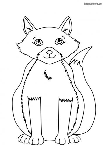 Sitzender Fuchs ausmalen