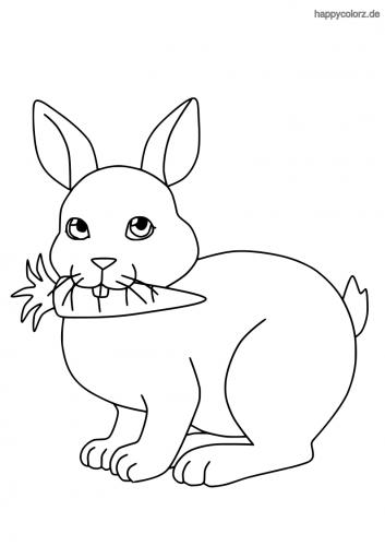 Süßer Hase mit Möhre Ausmalbild