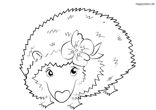 Igel mit Blume Ausmalbild