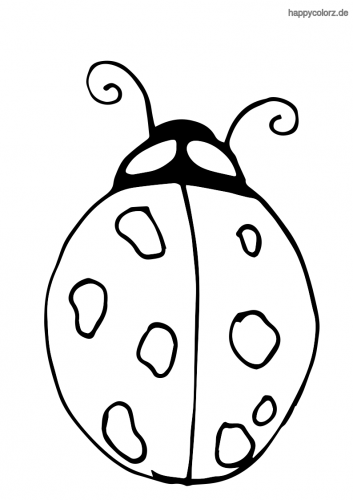 Einfacher Marienkäfer Malvorlage