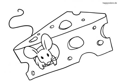 Maus mit Käse ausmalen