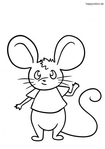Winkende Maus Ausmalbild