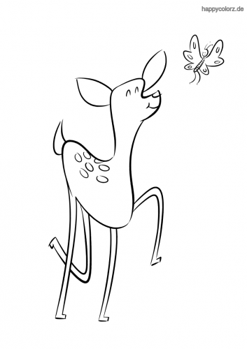 Reh mit Schmetterling Ausmalbild