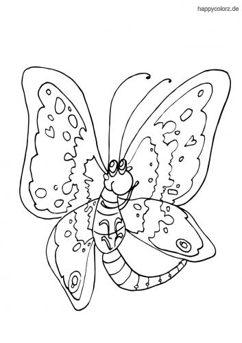 Lustiger Schmetterling Ausmalbild