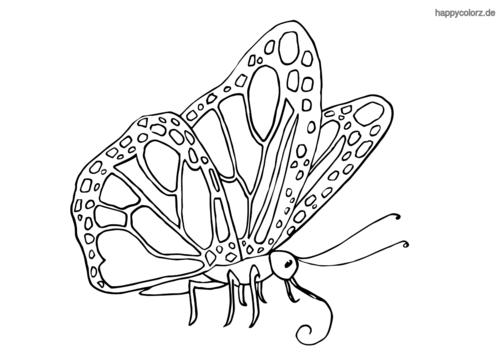 Sitzender Schmetterling ausmalen