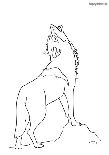Einfacher heulender Wolf Ausmalbild