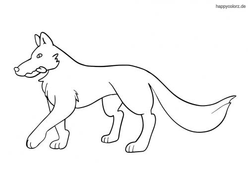 Einfacher Wolf Malvorlage