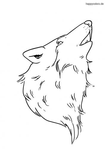 Jaulender Wolf Malvorlage