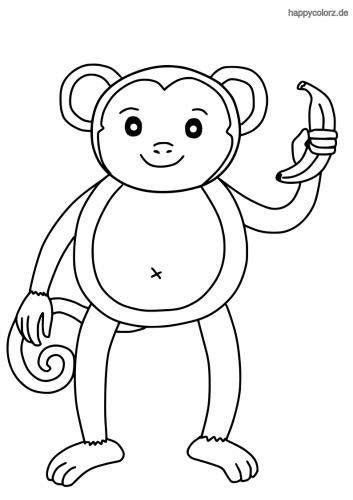 Affe mit Banane Ausmalbild