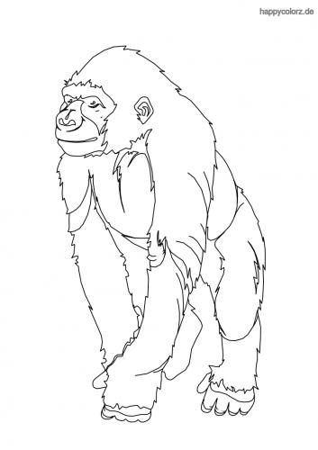 Gorilla Ausmalbild