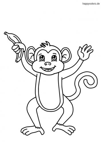 Kleiner Affe mit Banane Ausmalbild