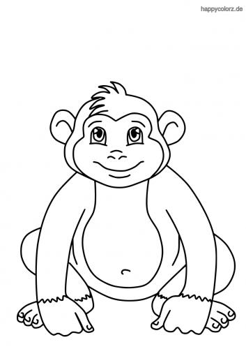 Sitzender Affe Malvorlage
