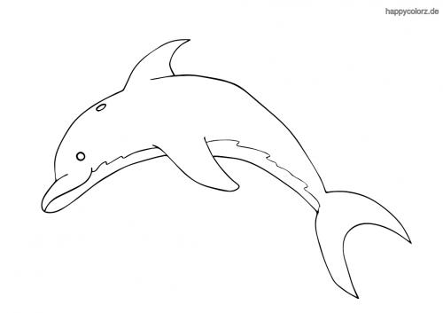 Einfacher Delfin ausmalen