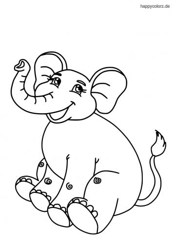 Lachender Elefant Ausmalbild