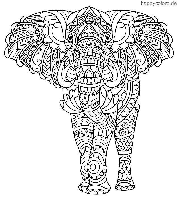 ausmalbild elefant kostenlos » malvorlage elefant