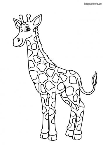 Lachende Giraffe Ausmalbild