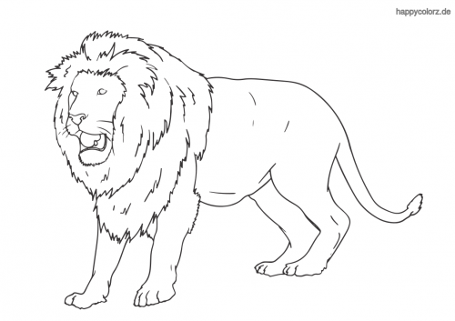 Brüllender Löwe ausmalen