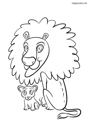 Löwe mit Baby Malvorlage