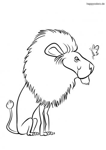 Löwe mit Schmetterling Malvorlage