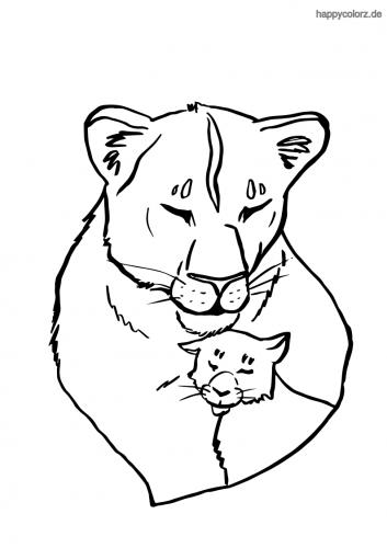 Löwin mit Baby Ausmalbild