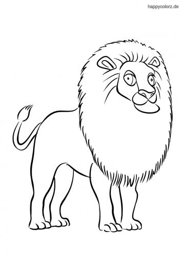 Stolzer Löwe mit großer Mähne Ausmalbild
