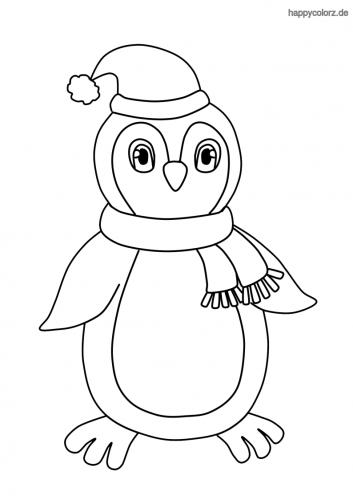 Pinguin mit Mütze und Schal Malvorlage