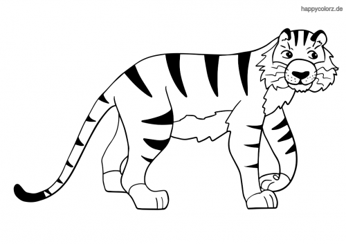 Einfacher Tiger Ausmalbild