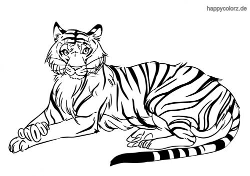 Liegender Tiger Ausmalbild