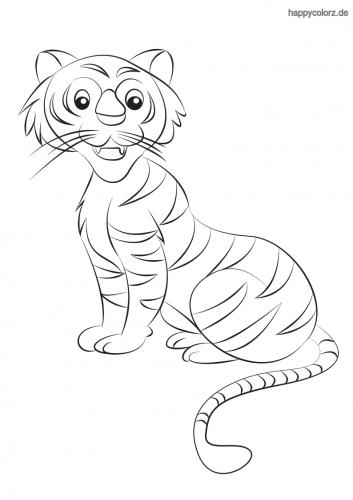 Süßer Tiger Ausmalbild