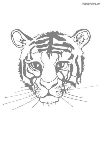 Tigerkopf Ausmalbild