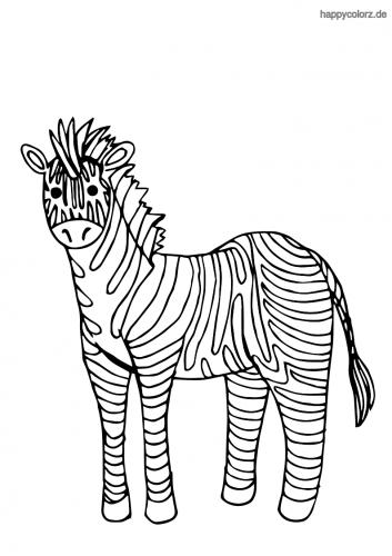Einfaches Zebra Malvorlage