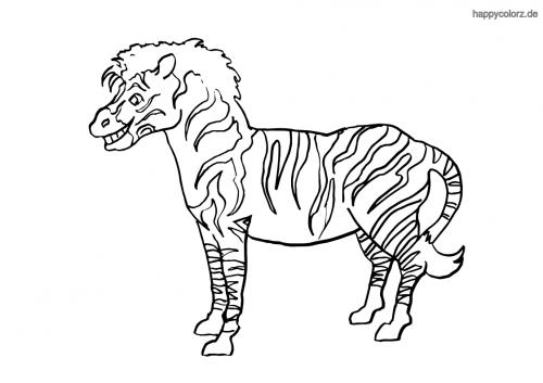 Grinsendes Zebra Malvorlage