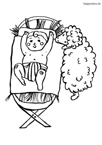 Krippe mit Baby und Schaf Ausmalbild