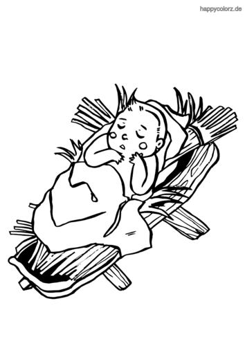 Krippe mit Baby Ausmalbild