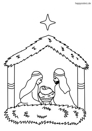 Krippe mit Maria und Joseph und Stern Malvorlage