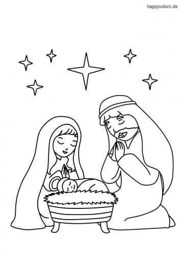 Krippe mit Maria und Joseph und Sternen Malvorlage