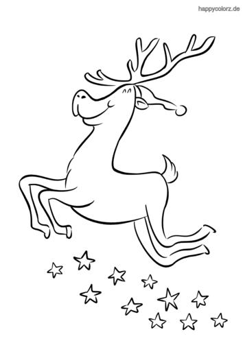 Rentier mit Sternen und Mütze Ausmalbild