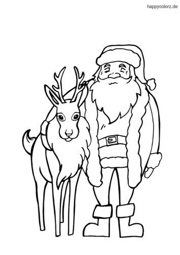 Rentier mit Weihnachtsmann  Ausmalbild